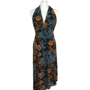 1970's Floral Dress | 70's Vintage Dress | Halter Neck Dress | Asymmetric Vintage Sun Dress