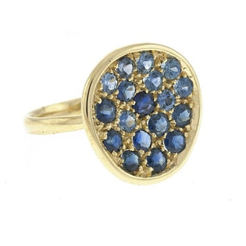 14 Karat Yellow Gold Blue Sapphire Bling Ring