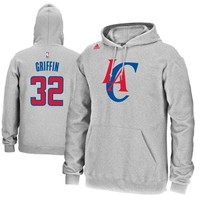 Mens Los Angeles Clippers Blake Griffin adidas Gray Name & Number Pullover Hoodie