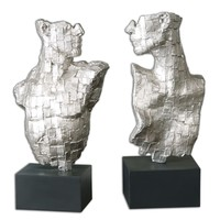 Eros Human Fragment Silver Sculptures - Set of 2 by Uttermost