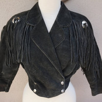 Black Leather Jacket, Fringed Leather Jacket, Cropped with Fringe, Ghost Town, Bohemian Clothing, Boho Leather Jackte, Black Suede Jacket