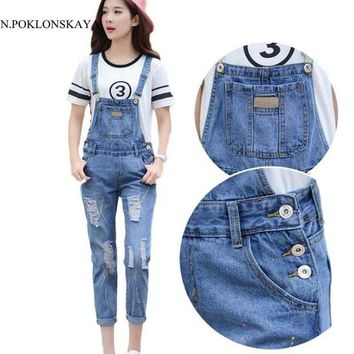 VONG2W 2017 New Women Ripped Hole Denim Jumpsuits Women's Casual Romper Plus Size Overalls Long Pants Jeans Female Slim Catsuit
