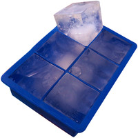 Evelots Large Silicone Ice Cube Tray, Keep Drink Chilled, Blue, 1 3/4 Inch Cubes