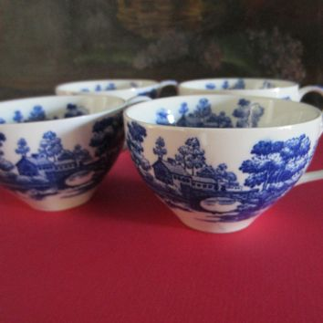 Nasco Japan Lake View Hand Painted Blue White Teacup Set