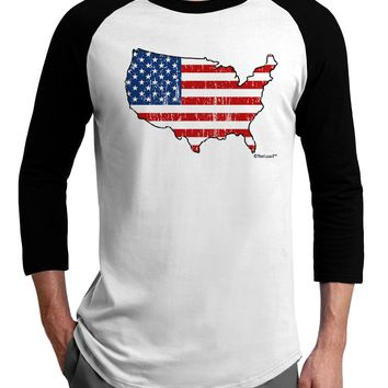 United States Cutout - American Flag Distressed Adult Raglan Shirt by TooLoud