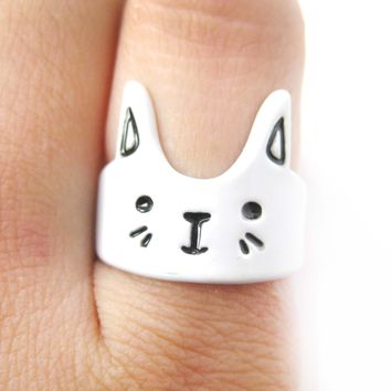 Bunny Rabbit Shaped Cartoon Animal Ring in White | Animal Jewelry