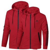 ADIDAS 2019 new tide brand hooded cardigan men and women models pullover sweater Red