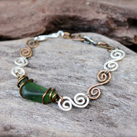 Sea Glass Bracelet - Swirl Wire Wrapped Seaglass Jewelry - Sea Glass Jewelry from Hawaii - Swirly Nautical Bracelet made in Hawaii