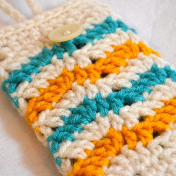 Wave Crochet Phone Cozy, Blue and Yelloe Striped Cell Phone Sleeve, Smartphone Case, Colorful iPhone sleeve,