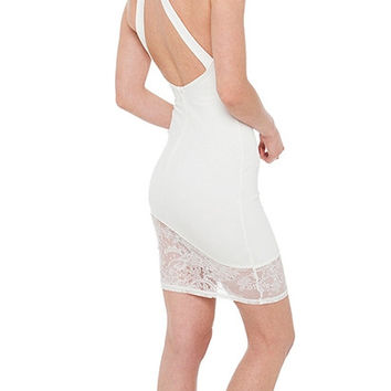 White Halter Bodycon Lace Mini Dress