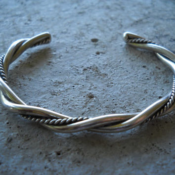 1980s Handmade Sterling Twisted Cuff Bracelet