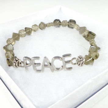 Inspirational PEACE Grey Glass Beaded Bracelet ~ Boho Chic ~ Trending Womens Jewelry