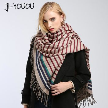 winter ladies scarves women high fashion 2017 poncho capes crinkle hijab warm cotton women's wool shawls and wraps plaid scarf