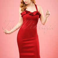 50s Mandy Pencil Dress in Dark Red