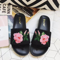 Embroidery Floral Jelly Slide Sandal