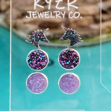 Druzy earring set- Metallic Rainbow/ Lilac and Rainbow unicorn drusy stud set