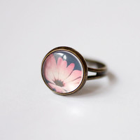 Romantic pink flower vintage style glass dome ring, bronze ring, flower ring, flower jewelry, gift for her