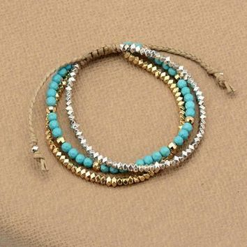 3 Strand Semi Precious Stone And Metal Beaded Bracelet