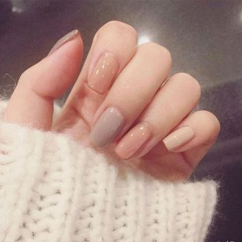 New Sale 3 Nude Colors Fake Nails 24Pcs Long Solid Square unhas for Daily Office with Glue Sticker Women Nail Art Tool
