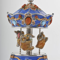Spinning Music Playing Blue Elephants Carousel Handmade Keren Kopal Faberge Styled Decorated with Swarovski Crystals Gold Plated
