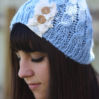 Beanie Hat- Sky Blue, Ivory, Accordion lace , Wood buttons, Leather Bow, Cable Knit, Knitted, Crochet, ivory lace, Christmas Gift.