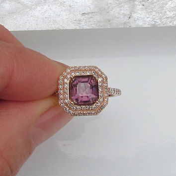 Asscher Cut Purple Spinel 14k Rose Gold Double Diamond Halo Engagement Ring Weddings Anniversary