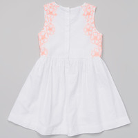 French Connection White Embroidered Tie-Front A-Line Dress - Toddler & Girls | Something special every day