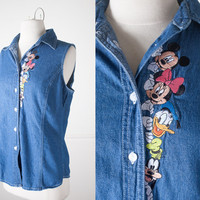 Vintage Mickey Mouse Denim Button Down Shirt / Vintage Denim Shirt / Vintage Disney Shirt / Mickey Mouse Top / 90s Grunge Top / Denim Vest