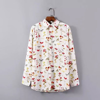 Floral Mushroom Print Long-Sleeve Button Collared Shirt