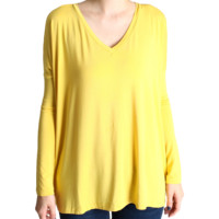 Mustard Piko V-Neck Long Sleeve Top