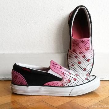 Pink ombre and ladybug print Converse slip-on sneakers, upcycled vintage shoes, pink,
