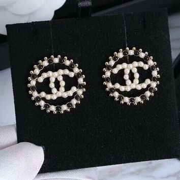 CHANEL Fashion new black white more pearl round earrings accessories women