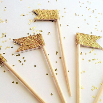 12 Gold Flag Mini Cupcake Flag Topper - Gold Mini Cupcake Banner - Golden Birthday Party Pick -Gold Glitter Topper Dessert Pick Gold Decor