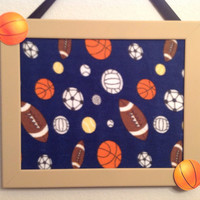 Framed Bulletin memo cork board photo organizer holder upcycled upholstered child playroom decor gift idea sports theme football basket base