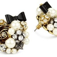 Betsey Johnson Pearl and Black Bow Button Stud Earrings