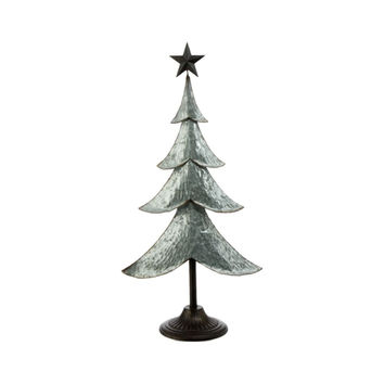 Farmhouse Galvanized Silver Metal Freestanding Holiday Christmas Tree with Bronze Star 29-in