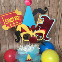 Circus or carnival table center piece for parties kids parties,circus  party decorations,circus balloons and party decor. mustaches and more