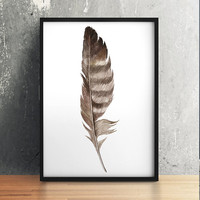Feather poster Bird print Feathers print Watercolor decor ACW871