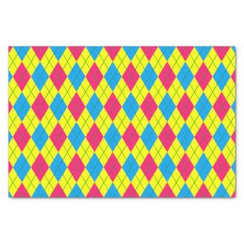 Crazy Kids Colors-Argyle 3-TISSUE WRAP PAPER