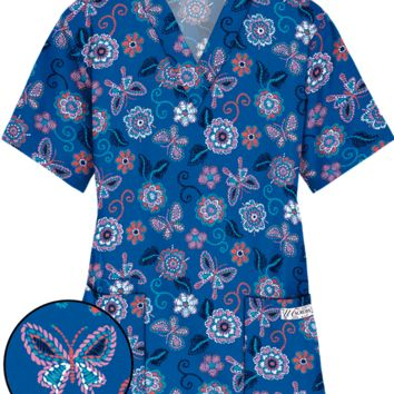 UA Floral Stitchery Royal V-Neck Scrub Top | Floral Nursing Scrubs