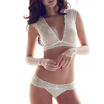 NEW Arrival Sexy See-through Lace Floral Bra Bkini Set Women Underwear Lingerie