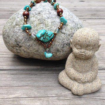 Turquoise Magnesite Boho Native American Style Necklace - Nectar Nugget