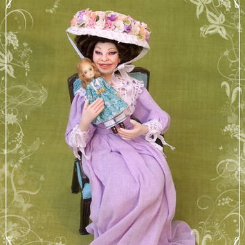 Mme MARGELINE ooak Edwardian lady 1/12 dollhouse doll by Soraya Merino