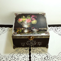 Big Hand Decorated  Box, Antique Jewelry Box, Distressed silver Box, Trinket Box, hand painted sewing box, dark brown box with silver