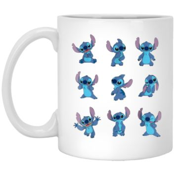 Disney Many Moods of Stitch Mug 11 oz Mug