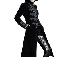 Punk Winter Woman Wool Long Coat Turtleneck Goth Man with Zipper Thick Coat Slim Dust Coat Stage Costumes