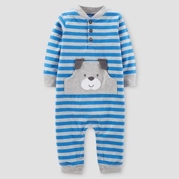 Baby Boys' Stripe Dog Jumpsuit - Just One You™ Made by Carter's® Blue
