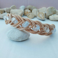 Natural Beige Nordic Inspired Braided Leather Bracelet with Czech Glass Beads