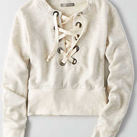 Don't Ask Why Lace-up Sweatshirt, Natural