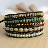 Long wrap bracelet. Beaded gold, mint and turquoise bead bracelet